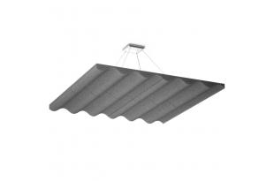 Акустическая подвесная  звукопоглощающая панель Ecosound Quadro Wave Grey. 50мм 1х1м Цвет серый