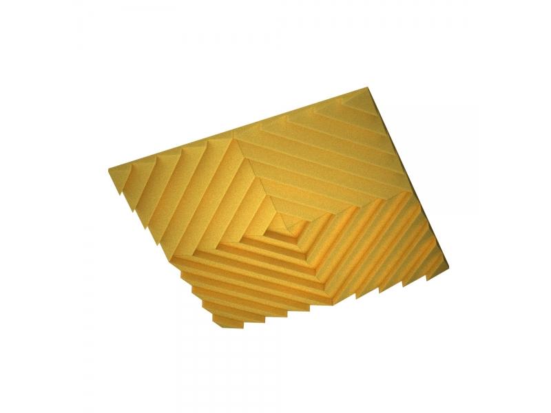 Акустическая подвесная звукопоглощающая панель Ecosound Quadro Acoustic Wave Yellow. 50мм 1х1м Цвет жёлтый