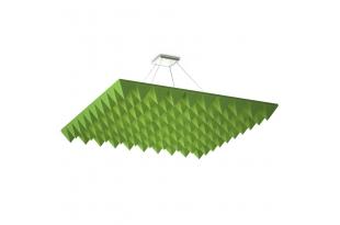 Акустическая подвесная звукопоглощающая панель Ecosound Quadro Pyramid Green. 50мм 1х1м Цвет зелёный