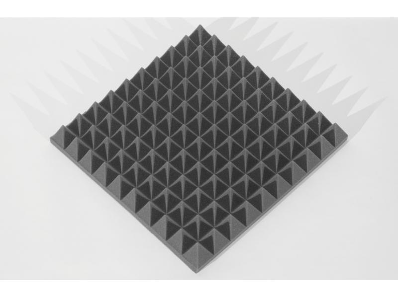 Панель из акустического поролона Ecosound пирамида 70мм Mini, 0,5х0,5м черный графит