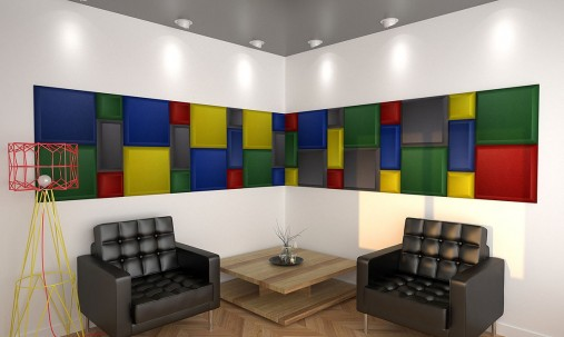 Пример применения Бархатная акустическая панель из акустического поролона Ecosound Velvet Kelly green 25х25см 50мм. Цвет темно-зеленый