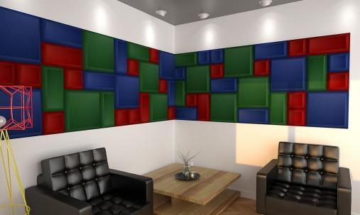 Пример применения Бархатная акустическая панель из акустического поролона Ecosound Velvet Orange 25х25см 50мм. Цвет оранжевый