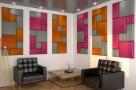 Визуализация проекта с использованием .Бархатная акустическая панель из акустического поролона Ecosound Velvet Orange 25х25см 50мм. Цвет оранжевый. Превью