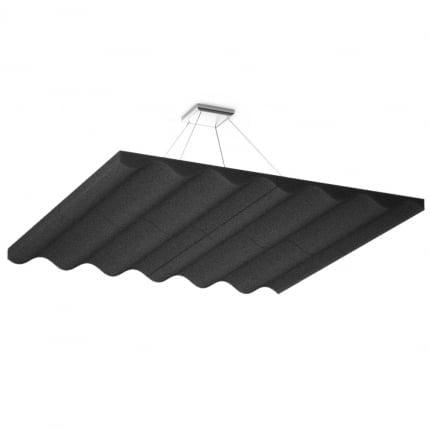 Акустическая подвесная звукопоглощающая панель Ecosound Quadro Wave Black. 50мм 1х1м Цвет чёрный
