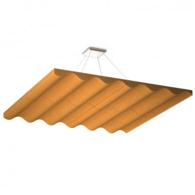Купить акустическая подвесная  звукопоглощающая панель ecosound quadro wave orange. 50мм 1х1м цвет оранжевый по низкой цене