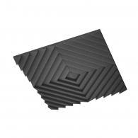 Акустическая подвесная звукопоглощающая панель Ecosound Quadro Acoustic Wave Black. 50мм 1х1м Цвет чёрный графит
