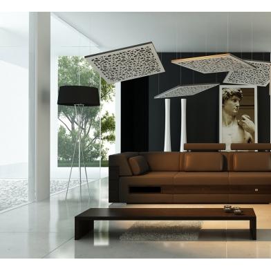 Купить акустическая подвесная звукопоглощающая панель ecosound quadro ecowave white 53мм 1х1м цвет белый по низкой цене