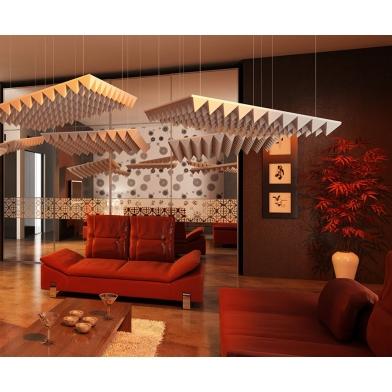 Купить акустическая подвесная  звукопоглощающая панель ecosound quadro wave grey. 50мм 1х1м цвет серый по низкой цене