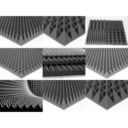 Превью Акустический поролон Ecosound пирамида 50мм  2мх1м Цвет черный графит