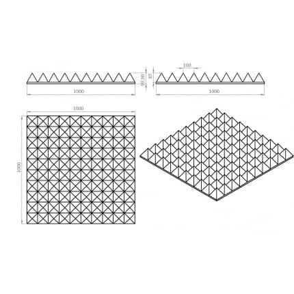 Превью Акустический поролон Ecosound пирамида XL 100мм. 1мх1м Цвет черный графит