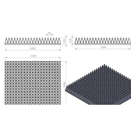 Превью Акустический поролон Ecosound пирамида 120мм. 1мх1м Цвет черный графит
