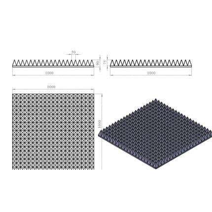 Превью Акустический поролон Ecosound пирамида 90мм 1мх1м Цвет черный графит