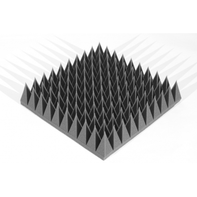 Панель из акустического поролона Ecosound пирамида 120мм Mini, 0,5х0,5м черный графит