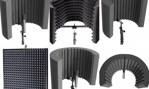 'Пример применения '.Акустический экран для микрофона Ecosound XL 100х85 см цвет черный