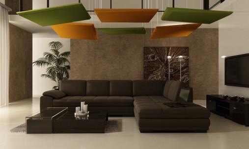 Пример применения Акустическая плита для подвесных потолочных систем типа Армстронг Ecosound Tetras Armstrong 50мм 0,6м х 0,6м.