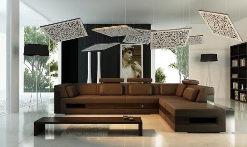 Пример применения Акустическая плита для подвесных потолочных систем типа Армстронг Ecosound Tetras Armstrong 600х600х30мм gray