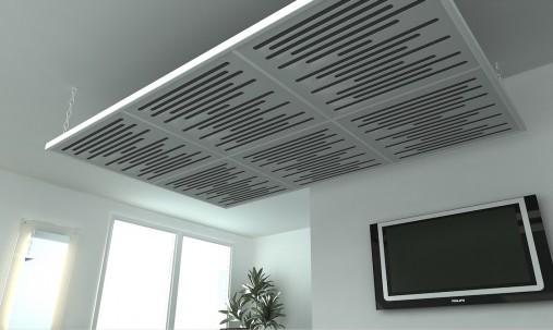 Пример применения Акустическая подвесная звукопоглощающая панель Ecosound Quadro Wave Green. 50мм 1х1м Цвет зелёный