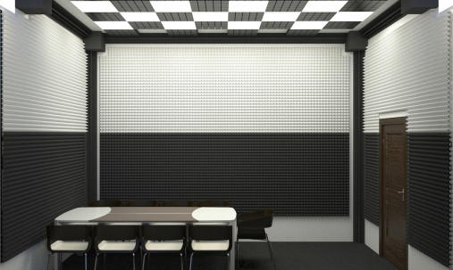 Пример применения Панель из акустического поролона пирамида Ecosound Pyramid Gain Black 50мм 45х45см цвет черный графит