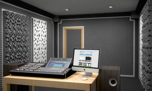 Пример применения Панель из акустического поролона Ecosound пирамида Mini 30мм 0,5х0,5м черный графит