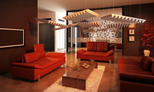 Пример применения Акустическая панель Ecosound Cinema Acoustic brown 50х50 см цвет коричневый