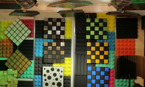 'Пример применения '.Акустическая панель Ecosound Tetras Wood Venge Contrast 50x50см 53мм цвет коричневый в полоску