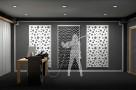 Визуализация проекта с использованием .Акустическая панель Ecosound Tetras Wood Venge Contrast 50x50см 53мм цвет коричневый в полоску. Превью