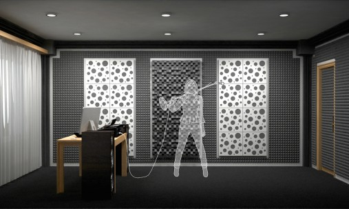 Пример применения Акустическая панель Ecosound EcoWave cream 50х50 см 73мм Светлый  дуб