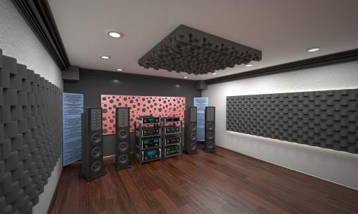 Пример применения Акустическая панель Ecosound Tetras Acoustic Wood Cream 50x50см 73мм цвет светлый дуб