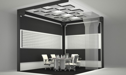Пример применения Акустическая панель Ecosound EcoArt cream 50х50 см 53мм Светлый  дуб