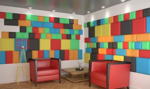 Пример применения Панель из акустического поролона Ecosound Pattern Orange 60мм, 60х60см цвет оранжевый