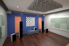 Визуализация проекта с использованием .Бархатная акустическая панель из акустического поролона Ecosound Velvet Green 50х25см 50мм. Цвет зелёный. Превью