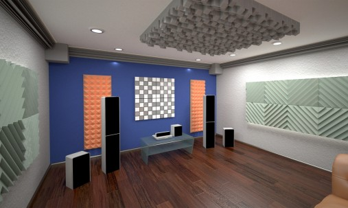 Пример применения Панель из акустического поролона Ecosound Tetras Grey 100x200см, 70мм, цвет серый