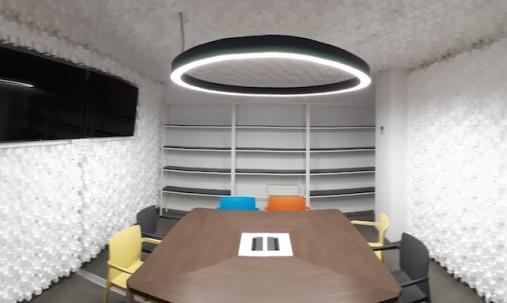 'Пример применения '.Акустический диффузор-рассеиватель Ecosound EcoDIFF foam cream 150мм,50х50 см цвет светлый дуб