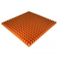 Панель из акустического поролона Ecosound Pyramid Color толщиной 70 мм, размером 100х100 см, оранжевого цвета