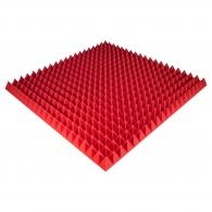 Панель из акустического поролона Ecosound Pyramid Color толщиной 70 мм, размером 100х100 см, красного цвета